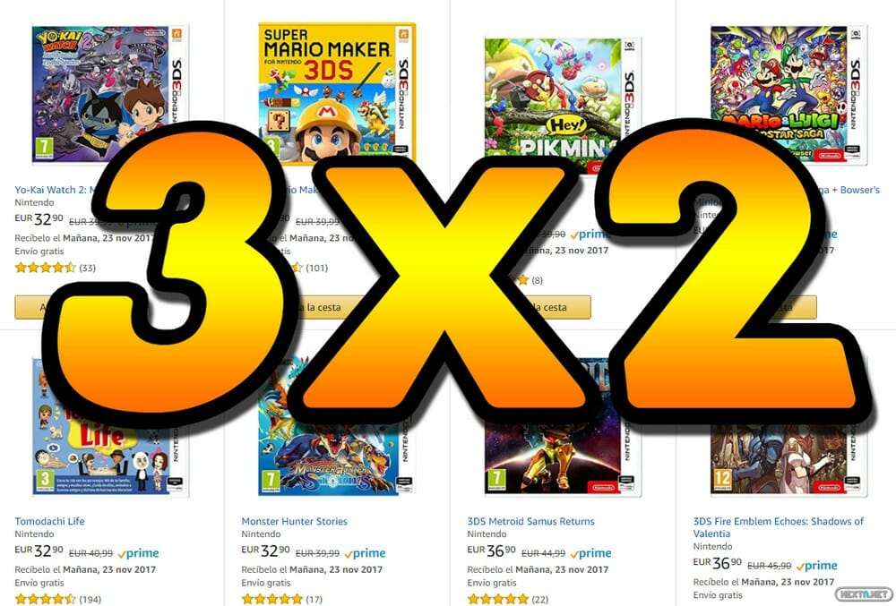 oferta 3X2 juegos 3DS Amazon