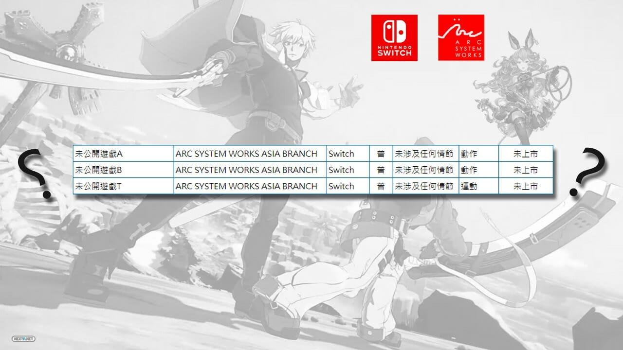 Tres Juegos Listados Arc System Works Nintendo Switch Sistema Calificación Edades Taiwán