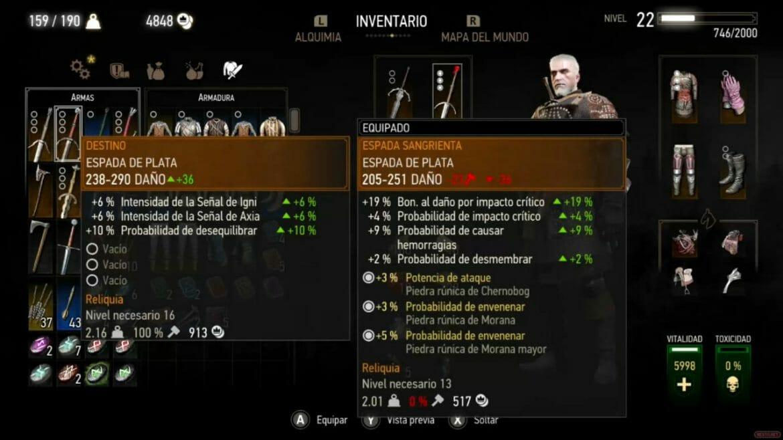 Análisis The Witcher Switch armas armaduras