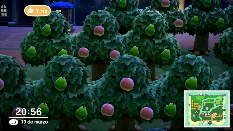 Guía Animal Crossing New Horizons árboles frutales