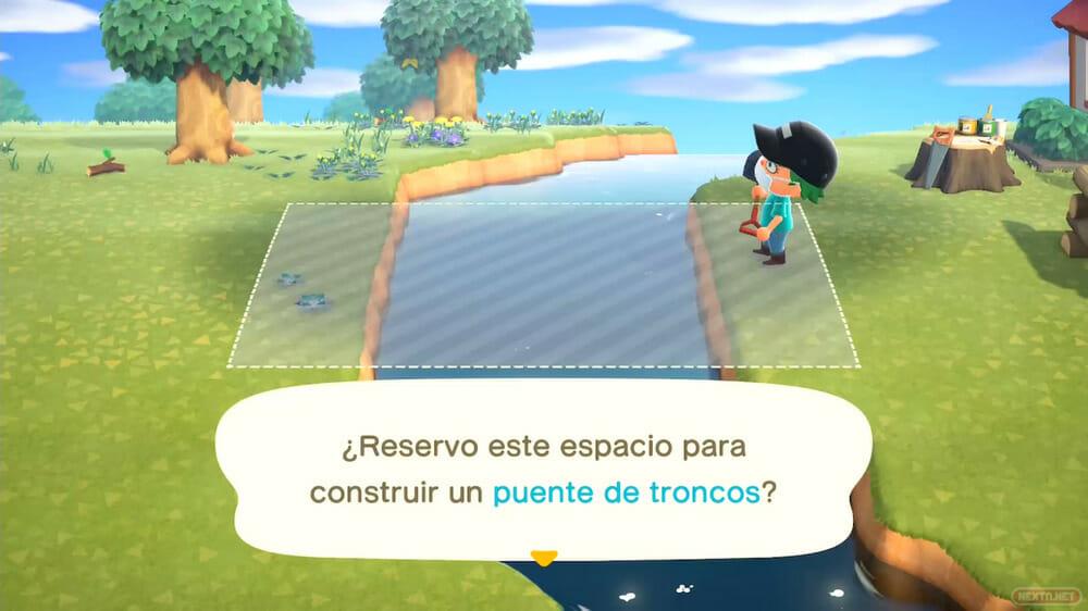 Guía Animal Crossing New Horizons colocar puente