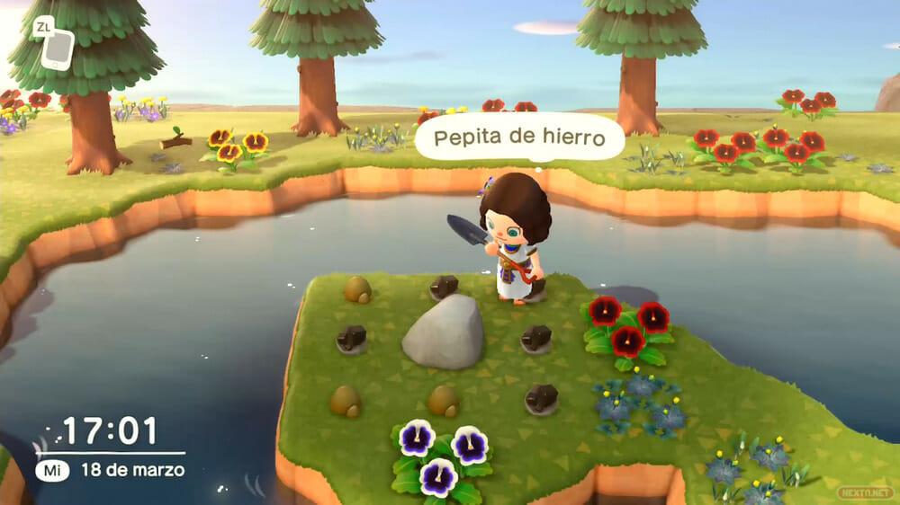 Guía Animal Crossing New Horizons truco golpear piedra