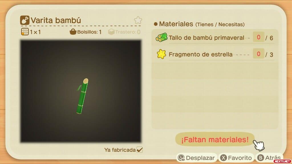 Receta Varita Bambú Animal Crossing New Horizons