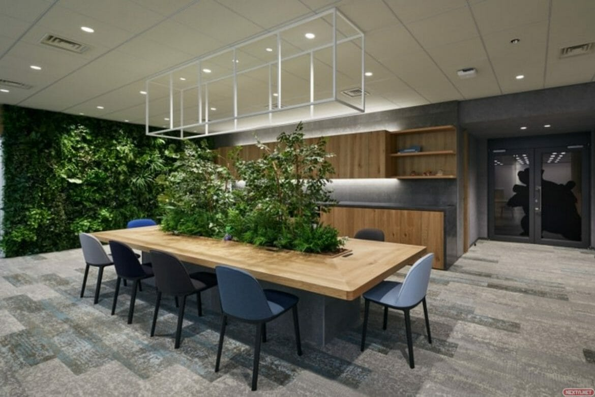 green forest in game freak's new office