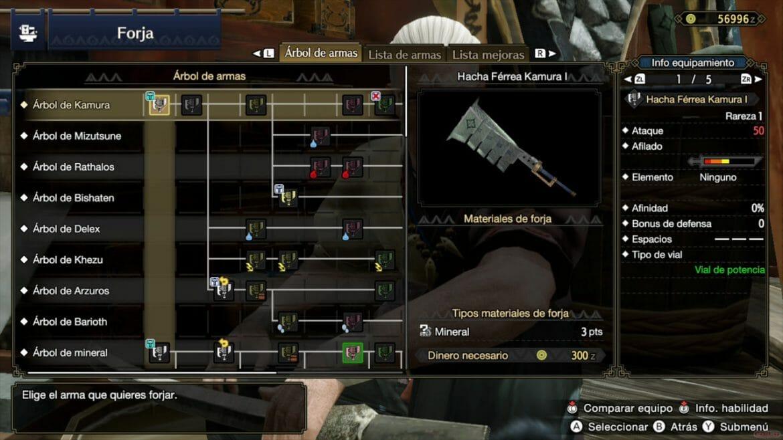 Análisis Monster Hunter Rise árbol de armas