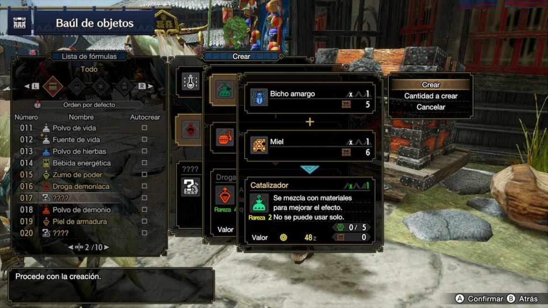 Guía Monster Hunter Rise Lista de Fórmulas Crear objetos autocrear