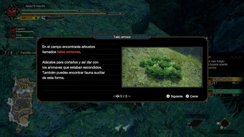 Guía Monster Hunter Rise tallos emisores