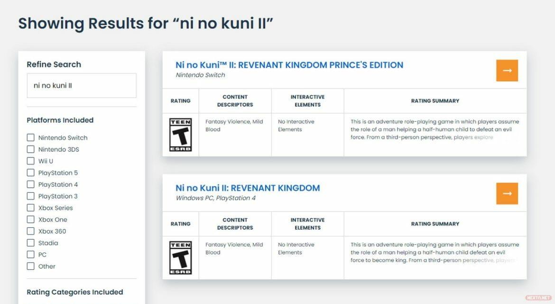 Ni No Kuni II El Renacer De Un Reino Switch ESRB
