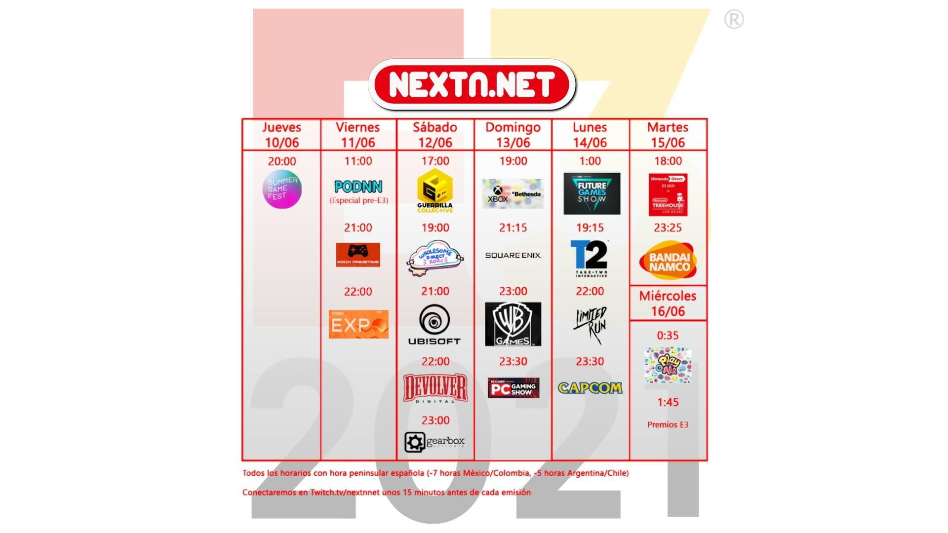 NextN tabla calendario conferencias eventos E3 2021