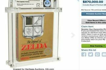 Zelda NES Subasta