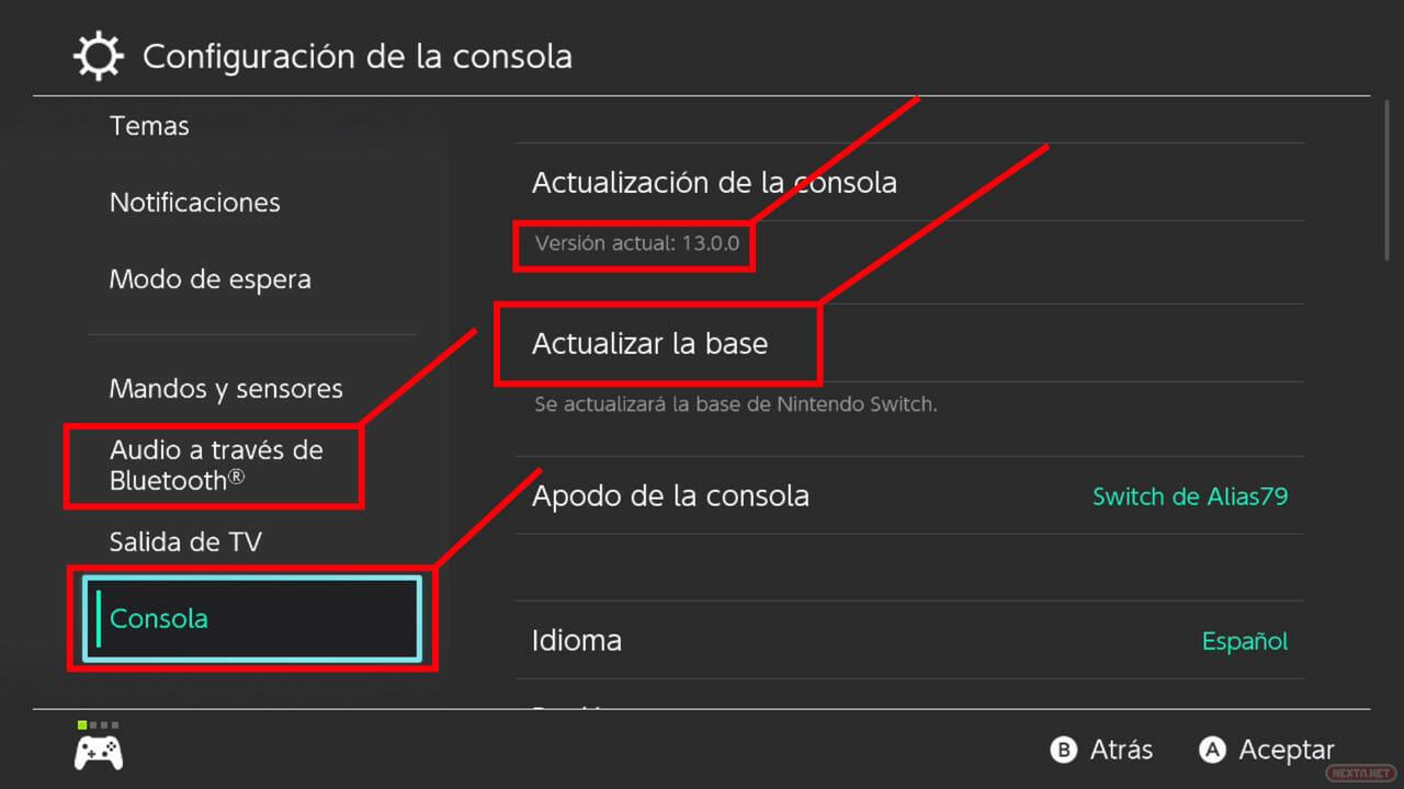 Actualización 13.0.0 Nintendo Switch auriculares bluetooth