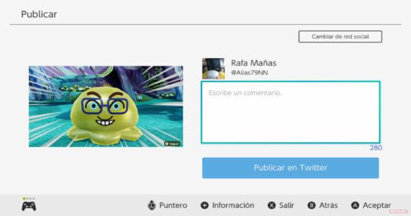 Nintendo Switch actualización 13.0.0 Twitter caracteres