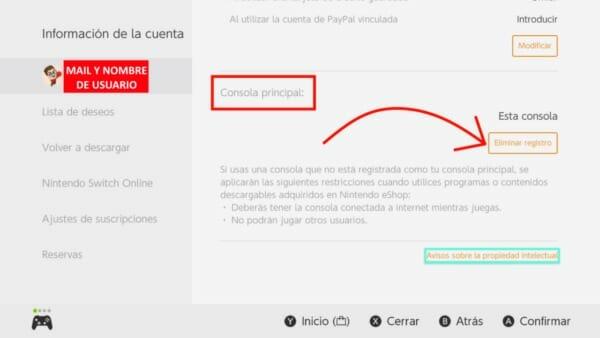 Cambiar consola Principal eShop Nintendo Switch